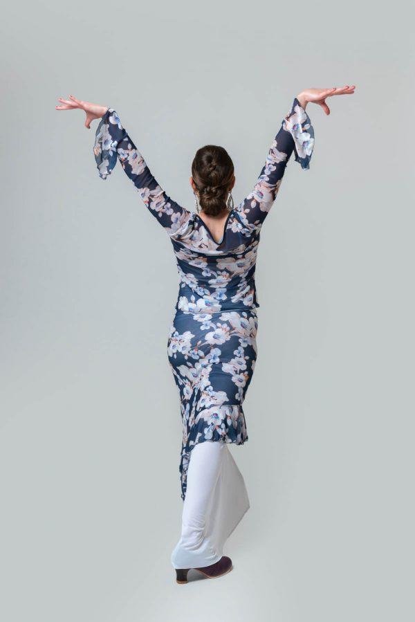 Falda flamenca floreada con dos faldas sobrepuestas y cosidas con fajín