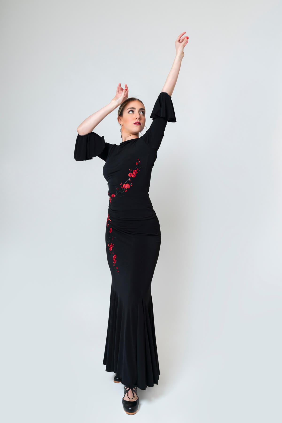 Top flamenco con flores bordadas 4312