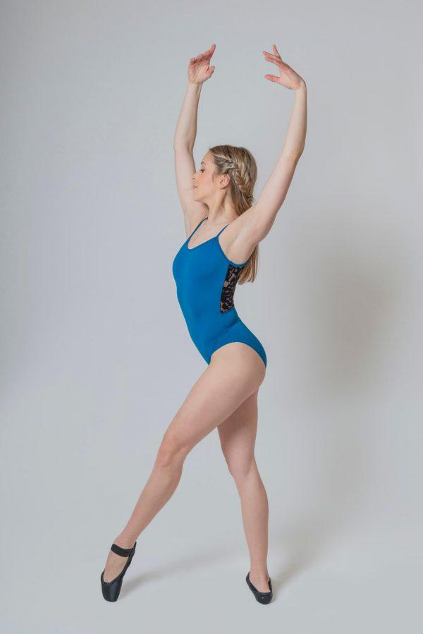 Maillot ballet azul con tirantes 4328