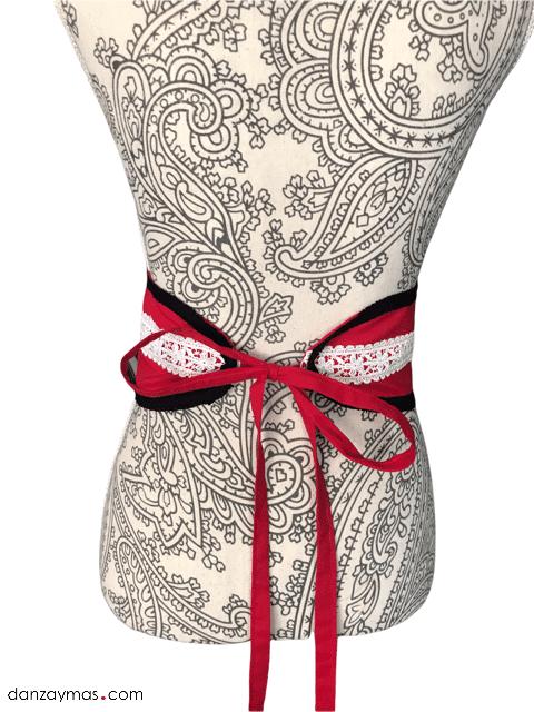 Cinturón de flamenca rojo y negro