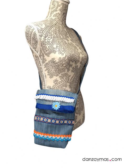 Bandolera flamenca con tejido vaquero